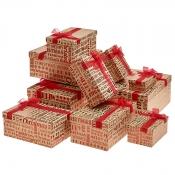 Merry Christmas Square Rectangular Christmas Gift Boxes – Set of 3