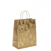 Gold Metallic Christmas Tree Kraft Paper Gift Bag with Twisted Handles – Large x 1pc