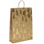 Gold Metallic Christmas Tree Kraft Paper Gift Bag with Twisted Handles – Extra Large x 1pc