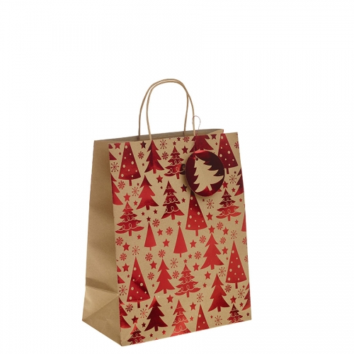 Red Metallic Christmas Tree Kraft Paper Gift Bag with Twisted Handles – Large x 1pc