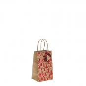 Red Metallic Christmas Tree Kraft Paper Gift Bag with Twisted Handles – Small x 1pc