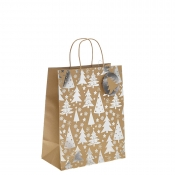 Silver Metallic Christmas Tree Kraft Paper Gift Bag with Twisted Handles – Large x 1pc