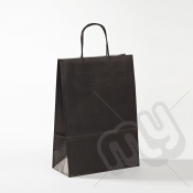 Black Kraft Paper Bags with Twisted Handles - Medium x 25pcs
