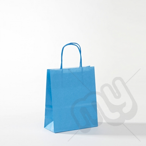 Blue Kraft Paper Bags With Twisted Handles Small X 25pcs