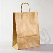 Gold Kraft Paper Bags with Twisted Handles - Large x 25pcs