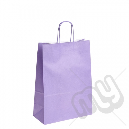 Lilac Purple Kraft Paper Bags with Twisted Handles - Large x 25pcs