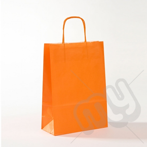 Orange Kraft Paper Bags with Twisted Handles - Medium x 25pcs