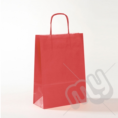 Red Kraft Paper Bags with Twisted Handles - Medium x 25pcs
