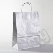 Silver Kraft Paper Bags with Twisted Handles - Large x 25pcs