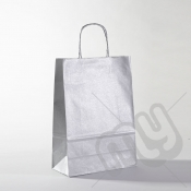 Silver Kraft Paper Bags with Twisted Handles - Medium x 25pcs