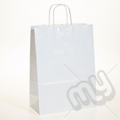 White Kraft Paper Bags with Twisted Handles - Large x 25pcs