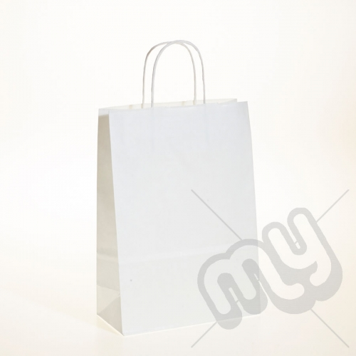 White Kraft Paper Bags with Twisted Handles - Medium x 25pcs