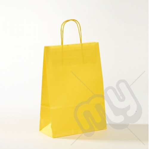 Yellow Kraft Paper Bags with Twisted Handles - Medium x 25pcs