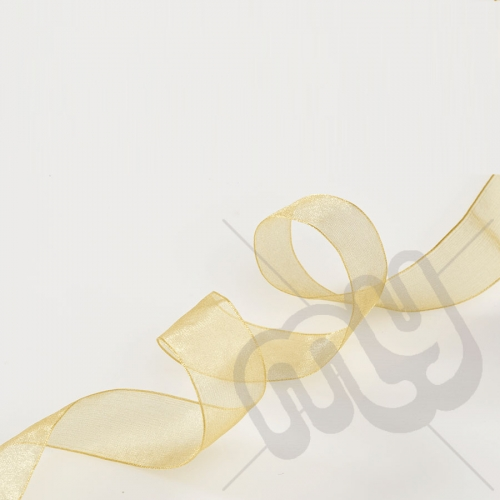 Gold Organza Ribbon 15mm x 25 metres