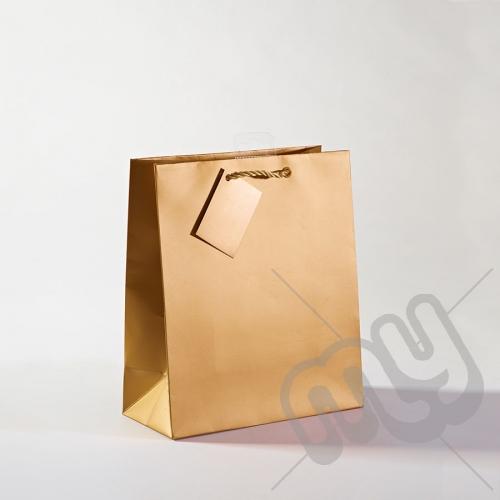 Gold Luxury Matt Laminated Rope Handle Carriers - MEDIUM x 12pcs