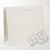 White Luxury Matt Laminated Rope Handle Carriers - LARGE x 50pcs