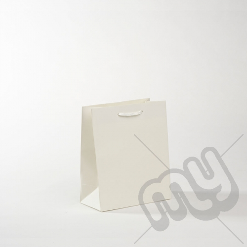 White Luxury Matt Laminated Rope Handle Carriers - SMALL x 50pcs