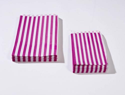 7 x 9 Pink Candy Stripe Paper Bags x 1000pcs