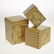 Golden Reindeer Christmas Gift Boxes - Set of 3