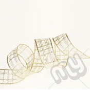 Gold Metallic Check Ribbon 25mm x 25metres - WIRED
