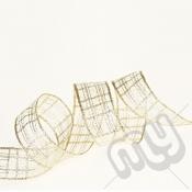 Gold Metallic Check Ribbon 25mm x 25metres - WIRED