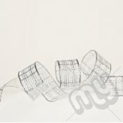Silver Metallic Check Ribbon 25mm x 25metres - WIRED