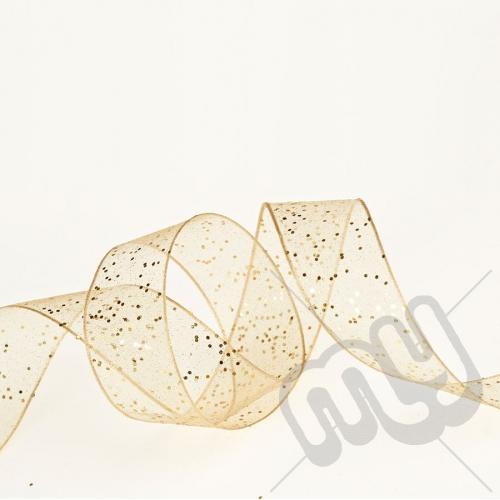 Gold Random Glitter Ribbon 25mm x 20metres - WIRED