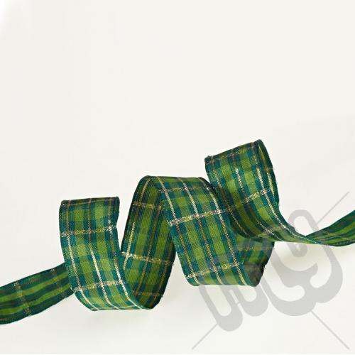 Green & Gold Tartan Ribbon 25mm x 20metres - WIRED