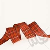 Red & Gold Tartan Ribbon 25mm x 20metres - WIRED