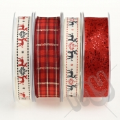 Christmas Ribbon, Red Reindeer - 16metres