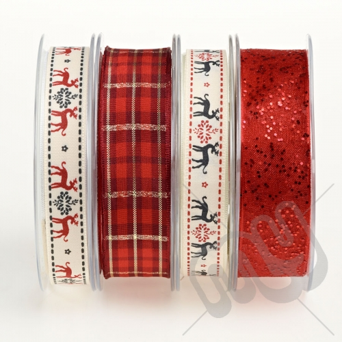 Christmas Ribbon, Red Reindeer - 16metres