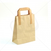 Brown Kraft SOS Carrier Bags With Flat Handles - SMALL x 500pcs