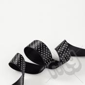 Black Polka Dot Double Satin Ribbon 25mm x 20 metres