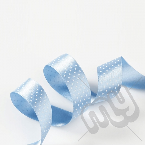 Sky Blue Polka Dot Double Satin Ribbon 25mm x 20 metres