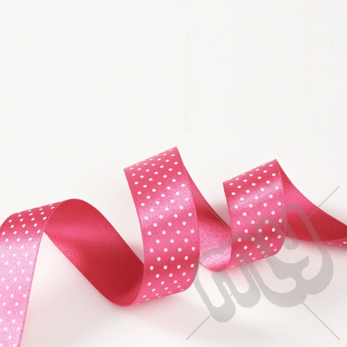 Fuschia Pink Polka Dot Double Satin Ribbon 25mm x 20 metres