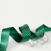 Green Polka Dot Double Satin Ribbon 15mm x 20 metres