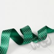 Green Polka Dot Double Satin Ribbon 25mm x 20 metres