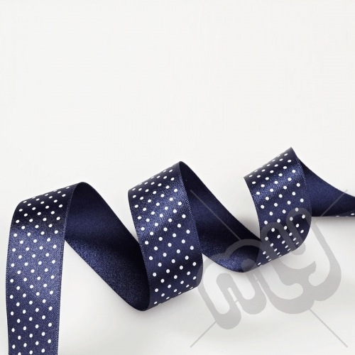 Navy Blue Polka Dot Double Satin Ribbon 25mm x 20 metres