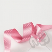 Light Pink Polka Dot Double Satin Ribbon 15mm x 20 metres