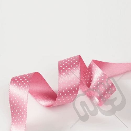 Light Pink Polka Dot Double Satin Ribbon 25mm x 20 metres