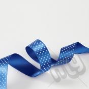 Royal Blue Polka Dot Double Satin Ribbon 25mm x 20 metres