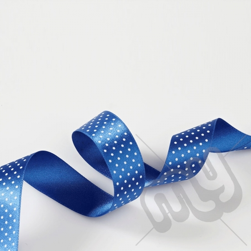 Royal Blue Polka Dot Double Satin Ribbon 25mm x 20 metres