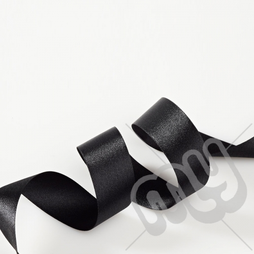 Black Double Satin Ribbon 25mm x 20 metres