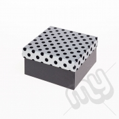Black & Silver Flocked Luxury Polka Dot Gift Box - Small