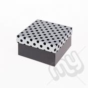 Black & Silver Flocked Luxury Polka Dot Gift Box - Small