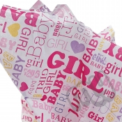 Baby Girl Pink Printed Tissue Paper - 6 Sheets