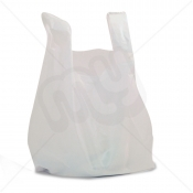 White Plastic Carrier Bag 13x19x23 20 micron (Heavy Strength) x 1000pcs