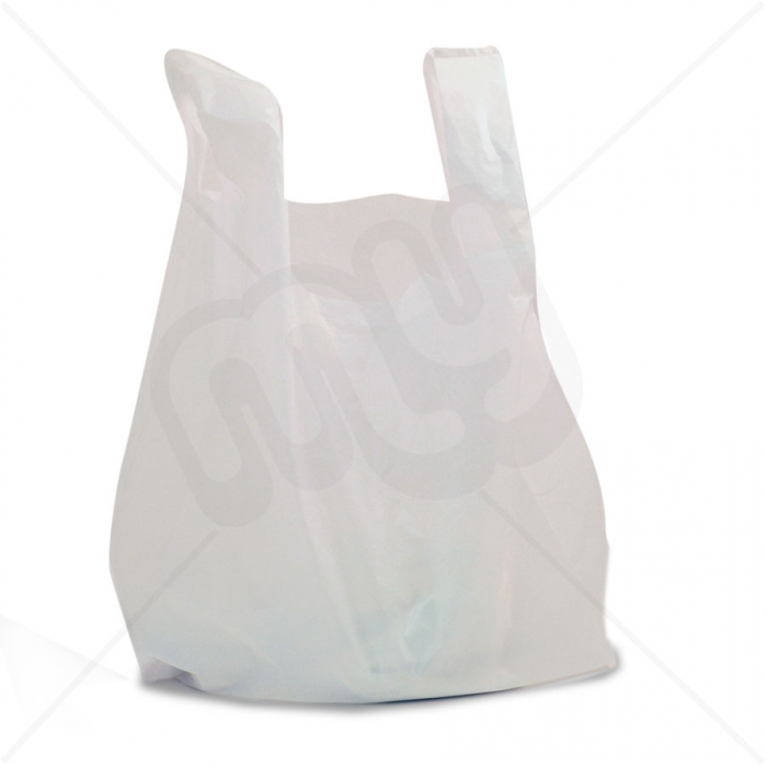 White Plastic Carrier Bag 11x17x21 18micron Heavy