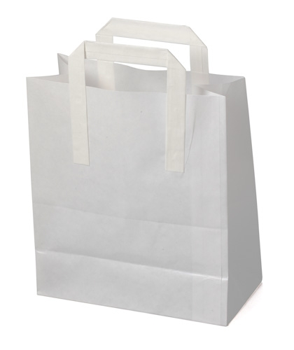 White Kraft SOS Carrier Bags With Flat Handles - SMALL x 250pcs