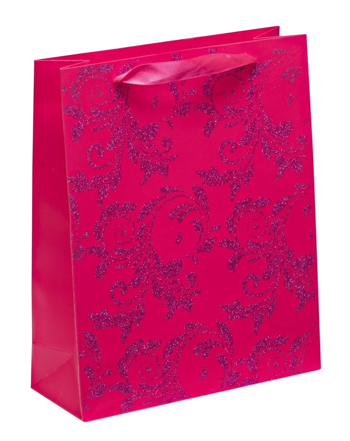 Luxury Pink Glitter Paper Gift Bag - Large x 1pc - My Carrier Bag ...